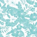 Vektorljus - hawaiansk sömlös modell för blå sommar för teckning tropisk med tropiska växter, sidor och hibiskusblommor stock illustrationer