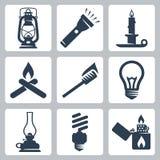 Vektorljus och uppsättning för belysninganordningsymboler Arkivfoton