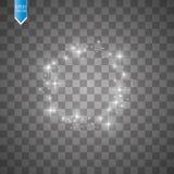Vektorljuscirkel Den runda skinande ramen med ljus dammar av slingapartiklar som isoleras på genomskinlig bakgrund Royaltyfri Bild