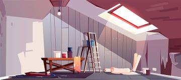 Vektorloftreparation Renovering av vindskupan, vind vektor illustrationer
