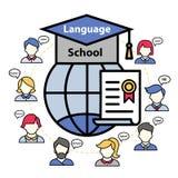 Vektorlogo av en språkskola utomlands vektor illustrationer