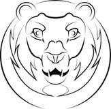 Vektorlogo av ett huvud för lejon` s vektor illustrationer