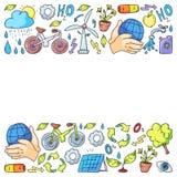 Vektorlogo, design och emblem i moderiktig dra stil - noll avfallsbegrepp, ?teranv?nd och ?teranv?nda, f?rminska - ekologisk livs vektor illustrationer