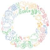 Vektorlogo, design och emblem i moderiktig dra stil - noll avfallsbegrepp, ?teranv?nd och ?teranv?nda, f?rminska - ekologisk livs royaltyfri illustrationer