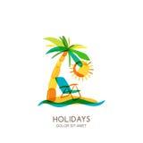 Vektorlogo-Designschablone Bunte Insel, Palmen und Strandstuhl auf Küste vektor abbildung