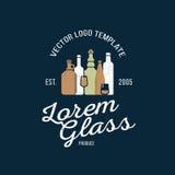 Vektorlogo-Designschablone in der modischen Art Grafisches Firmenzeichenelement der Wein-, Bier- und Wasserflasche Konzept Lizenzfreies Stockfoto