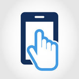 Vektorlogo-Designschablone Touch Screen smartphone Ikone Hand Lizenzfreie Stockfotografie