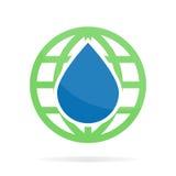 Vektorlogo eller symbolskombination av vatten och jord Royaltyfri Bild