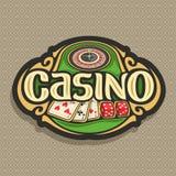 Vektorlogo för kasinoklubba på brun bakgrund Arkivbilder