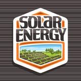 Vektorlogo för sol- energi stock illustrationer