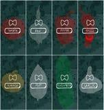 Vektorlogo für Frischgemüse: Illustration mit Bogen, Pfeffer, Paprika, Gurke, Tomate, Knoblauch, Minze, Kürbis, an Stockbilder