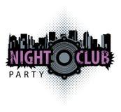 Vektorlogo f?r en nattklubb med h?gtalaren royaltyfri illustrationer
