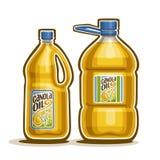 Vektorlogo 2 große Flaschen mit Rapsöl stock abbildung