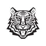 Vektorlogo-Konzeptillustration des Tigers kopf- in der klassischen grafischen Art Stockbild
