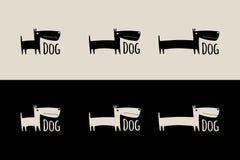 Vektorlogo med den roliga hunden royaltyfri illustrationer