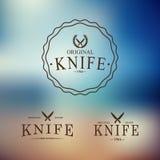 Vektorlogo med en uppsättning av knivar på abstrakt begrepp Royaltyfri Bild