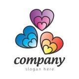 Kulöra hjärtor för logo Arkivfoto
