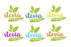 Vektorlogoen för organisk stevia eller för sött gräs ställde in i olika färger med växt- sidor stock illustrationer