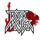 Vektorlogoen vaggar musik med röda rosor och gitarren vektor illustrationer