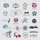 Vektorlogoer för bekläda och modetillbehör Arkivfoton