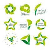 Vektorlogoer för organiska naturprodukter Arkivfoton