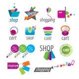 Vektorlogoer och shoppingrabatter Arkivfoton