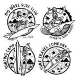 Vektorlogoillustration med skelett- surfare royaltyfri illustrationer