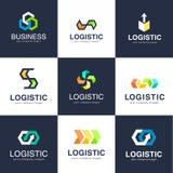 Vektorlogomall för logistik- och leveransföretag Affärslogo vektor illustrationer