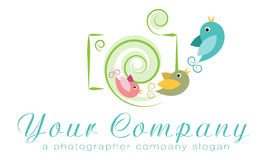 Vektorlogomall, fotobyrålogo, oberoende fotograflogo, familjfotograflogo Arkivfoto