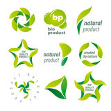 Vektorlogos für organische Naturprodukte Stockfotos