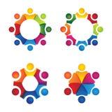 Vektorlogosymboler av för folk tecknet tillsammans - av enhet, partnershi vektor illustrationer