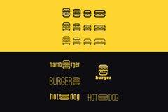 Vektorlogouppsättning med hamburgaren Royaltyfri Bild