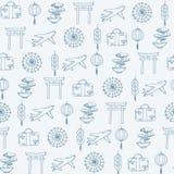 Vektorlopp till asia den sömlösa modellen som innehåller orientaliska konturer: paraplyer nivåer, dräktfall, mynt, lyktor, bonsai vektor illustrationer