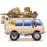 Vektorloppbil med Safari Accessories royaltyfri illustrationer
