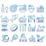 Vektorlutninglinje uppsättning av plana symboler och beståndsdelar om mat och drinken Royaltyfri Fotografi