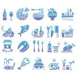 Vektorlutninguppsättning av plana symboler och beståndsdelar om mat och drinken för meny för kokkonstrengöringsdukrestaurang Royaltyfri Foto