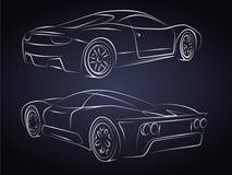 Sportwagen-Schattenbilder Stockbilder