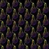Vektorlyktor, lampor på en mörk bakgrund festlig garnering Neonbelysning seamless modell stock illustrationer