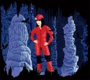 Vektormädchen caver in der Höhle Stockfoto