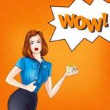 Vektormädchen in der Pop-Arten-Art Lizenzfreie Stockfotos