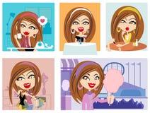 Vektormädchen und ihr Lebensstil Stockbild