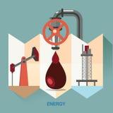 Vektormänniskor och economicsctorbegreppsillustration Symbol för energi - besparing Energiutforskning chemical fabriksolja Energi Arkivbilder