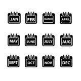 Vektormånad på kalender Arkivbild