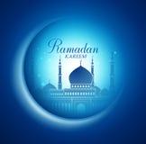 Vektormåne och moskéblixt i mörk bakgrund med Ramadan Kareem stock illustrationer