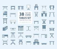 Vektormöbellinie Ikonen, Tabellensymbole Schattenbild der unterschiedlichen Tabelle - Abendessen, Schreiben, Frisierkommode Linea Stockfotografie