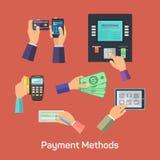 Vektormöjligheter av betalningmetoder stock illustrationer