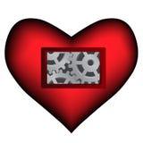 Vektormörker - röd hjärta med mekanisk insida arkivbild
