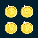 Vektormünzenikone der Goldmünzen realistische mit den Schatten lokalisiert stock abbildung