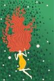 Vektorm?dchen, das auf Grassommerillustration liegt Benutzt werden und gedruckt werden wie kann Karte, Postkarte, Plakat, Plakat, stock abbildung