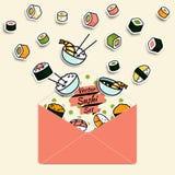 Vektormahlzeit rollt die Sushi, die in Papierpostumschlag eingestellt werden Stockfotos